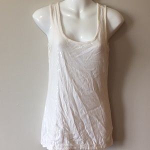 Tops - White Sequin Tank Top